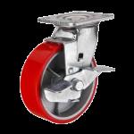 Колесо большегрузное полиуретановое поворотное с тормозом